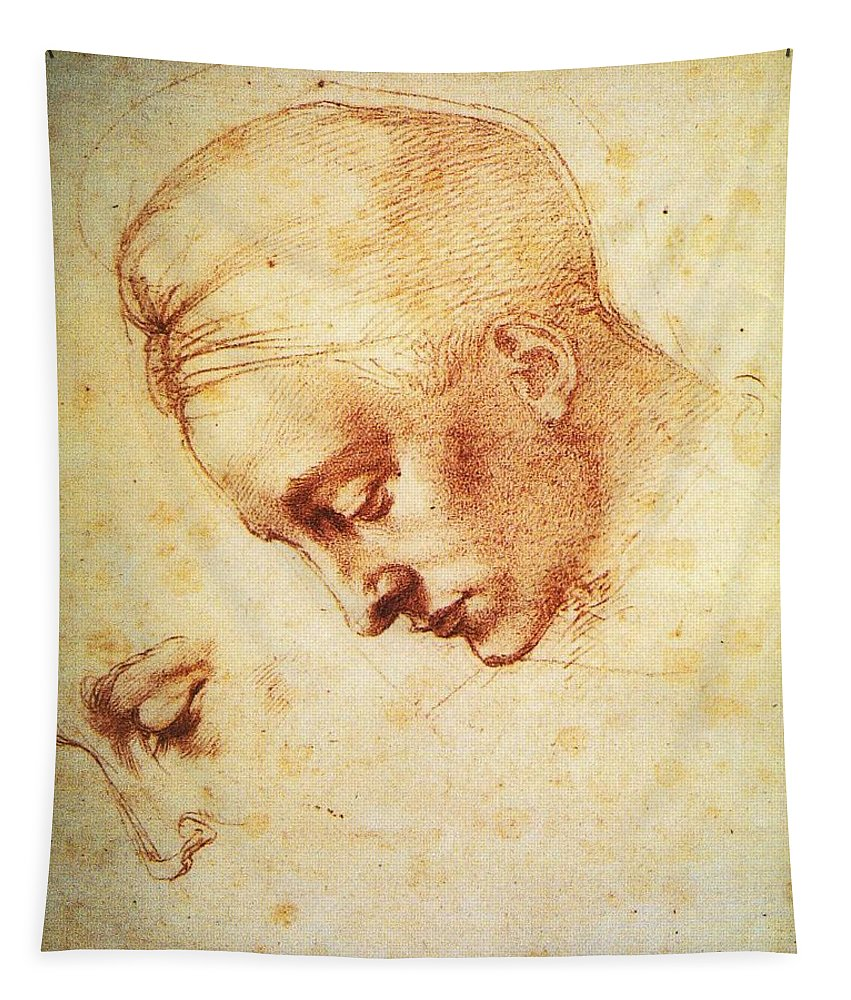 Michelangelo Tapestry featuring the painting Study For The Head Of Leda by Michelangelo
