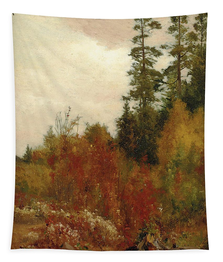 Jervis Mcentee Tapestry featuring the painting Study Near Schulls by Jervis McEntee