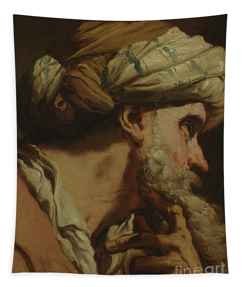 Study Of An Oriental Head Tapestry featuring the painting Study Of An Oriental Head by Gaetano Gandolfi