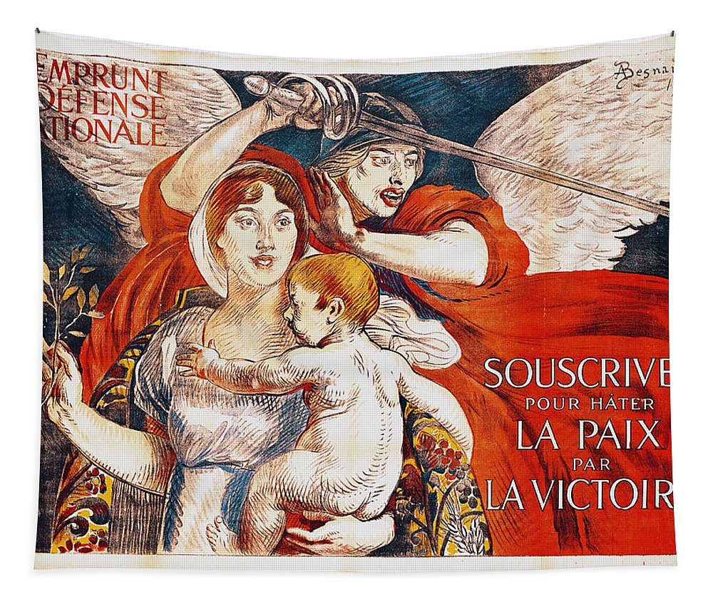 Paul Albert Besnard Tapestry featuring the painting Subscribe To Hasten Peace By Victory by Paul Albert Besnard