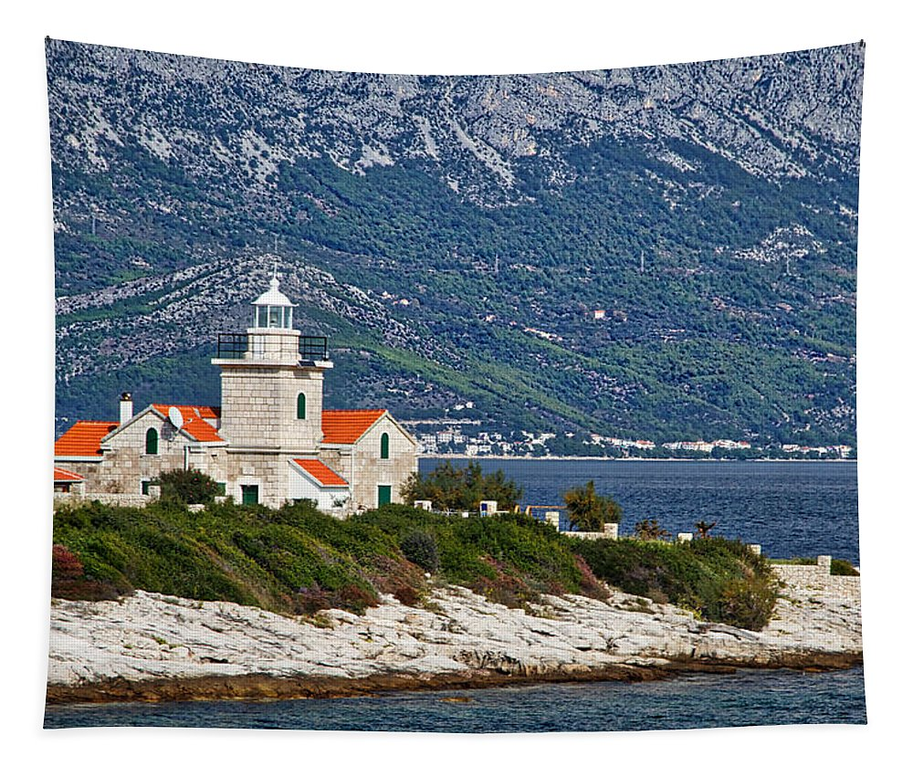 Hvar Tapestry featuring the photograph Sucuraj Lighthouse - Croatia by Stuart Litoff