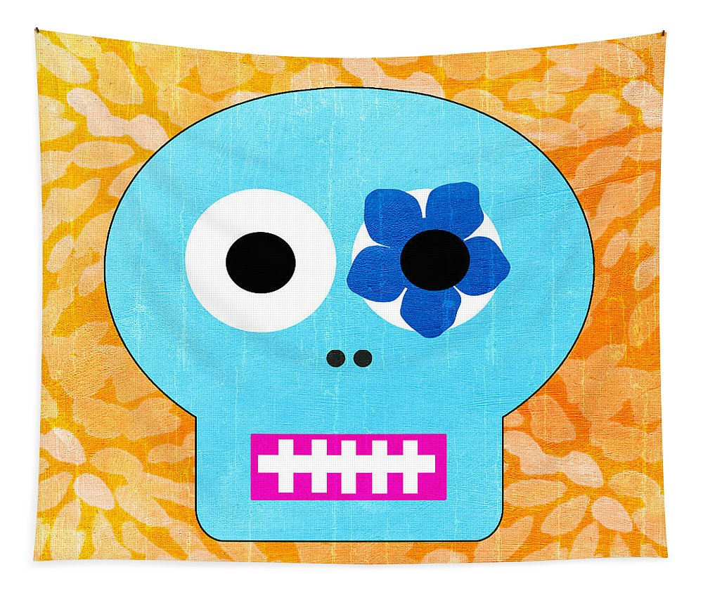 Day Of The Dead Tapestry featuring the painting Sugar Skull Blue And Orange by Linda Woods