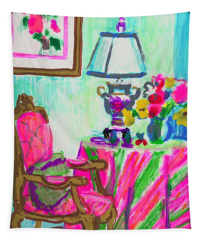 Pink Tapestry featuring the painting Sugarman's Table by Candace Lovely