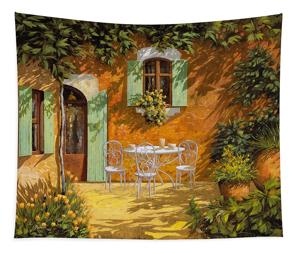Quiete Tapestry featuring the painting Sul Patio by Guido Borelli