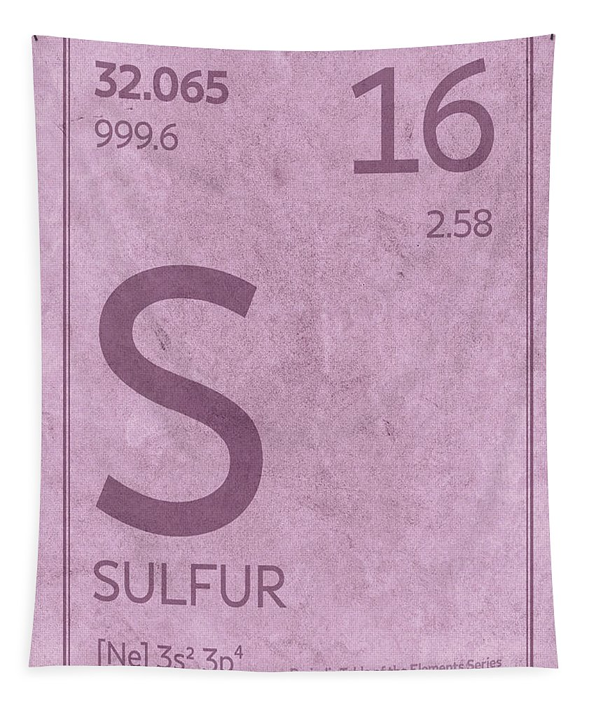 Sulfur Tapestry featuring the mixed media Sulfur Element Symbol Periodic Table Series 016 by Design Turnpike