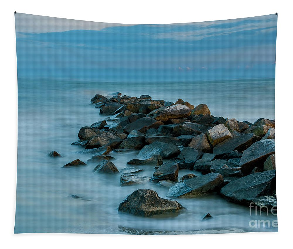 Sullivan's Island Tapestry featuring the photograph Sullivan's Island Rock Jetty by Dale Powell