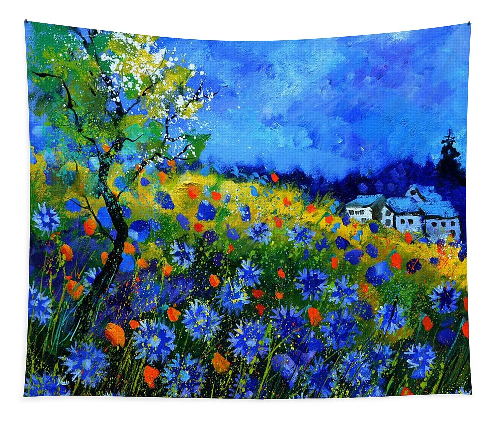 Landscape Tapestry featuring the painting Summer 2016 by Pol Ledent