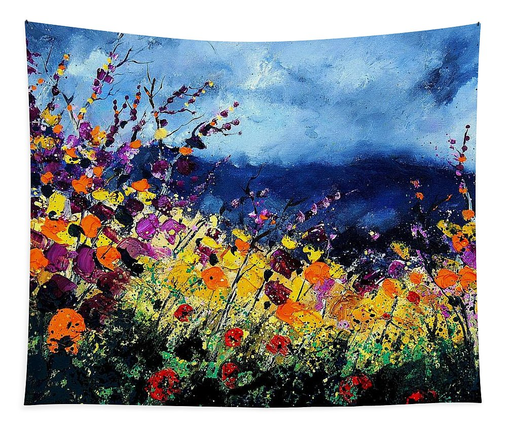 Poppy Tapestry featuring the painting Summer 45 by Pol Ledent
