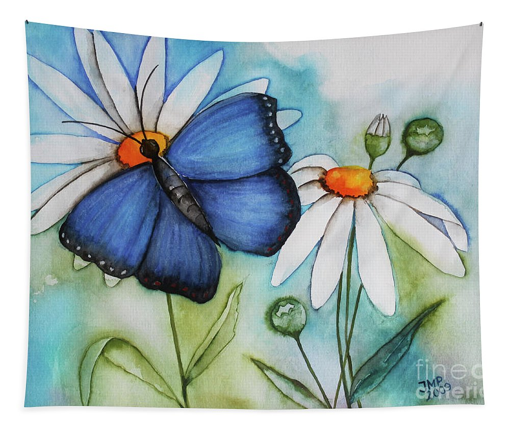 Painting Tapestry featuring the painting Summer Blue by Jutta Maria Pusl
