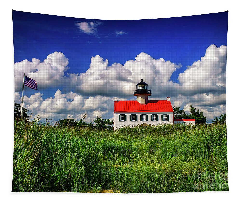 Atlantic Coast Tapestry featuring the photograph Summer Clouds At East Point by Nick Zelinsky