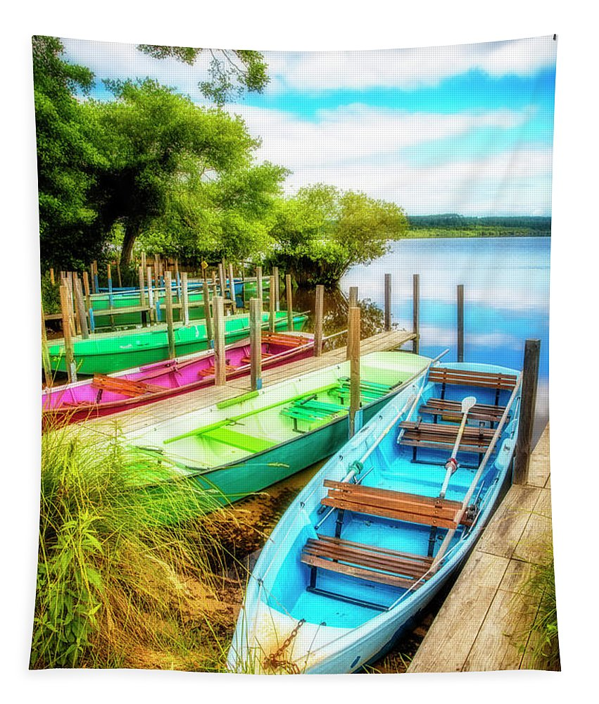 Boats Tapestry featuring the photograph Summer Colors by Debra and Dave Vanderlaan