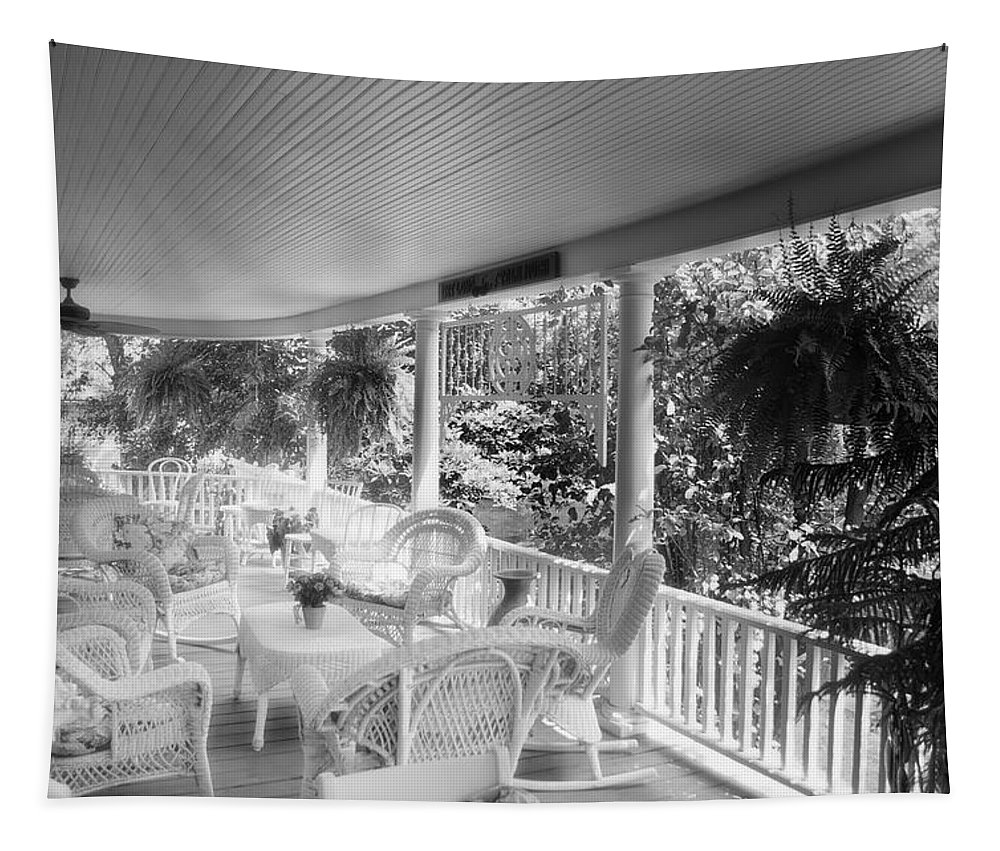 Veranda Tapestry featuring the mixed media Summer Day On The Victorian Veranda Bw 03 by Thomas Woolworth