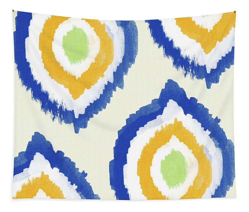 Blue Tapestry featuring the painting Summer Ikat- Art By Linda Woods by Linda Woods
