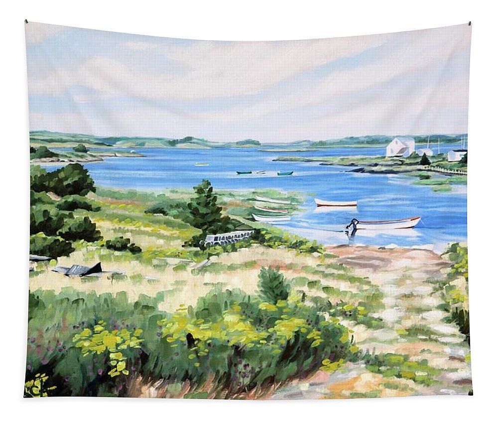 108 Tapestry featuring the painting Summer In Lunenburg Harbour by Phil Chadwick