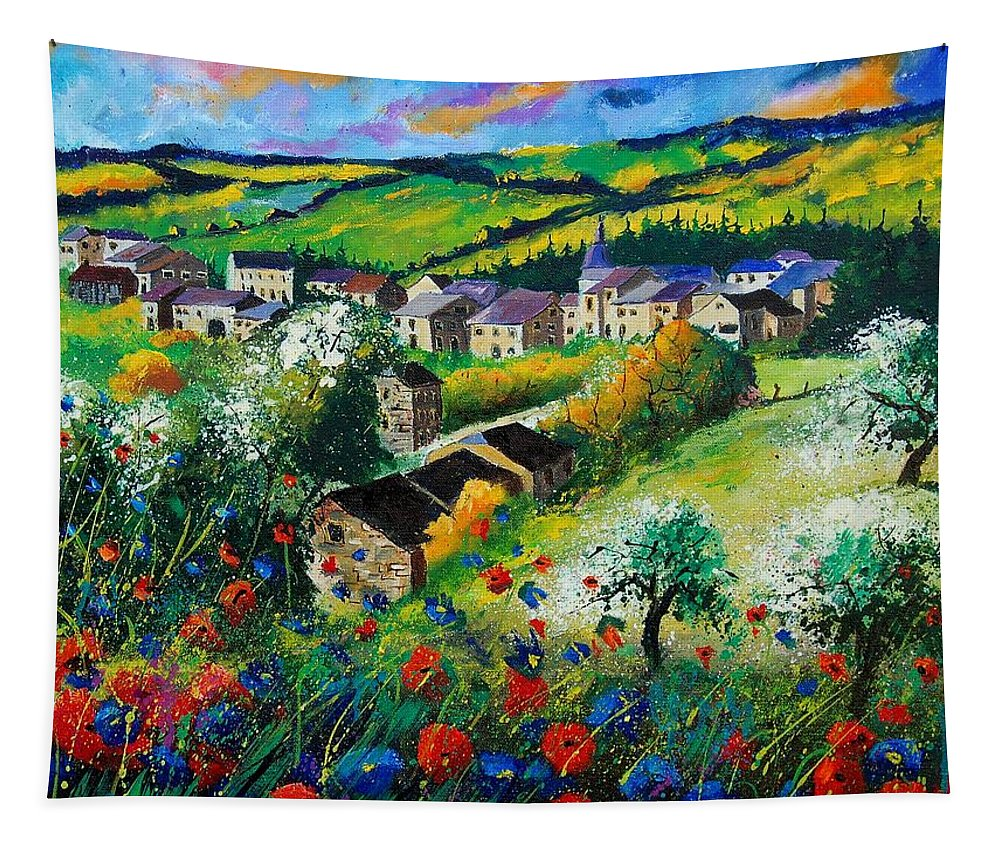 Poppies Tapestry featuring the painting Summer In Rochehaut by Pol Ledent