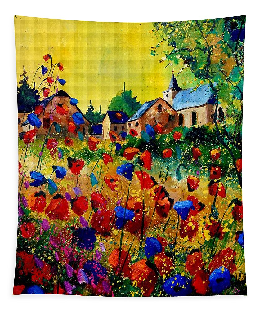 Poppy Tapestry featuring the painting Summer in Sosoye by Pol Ledent