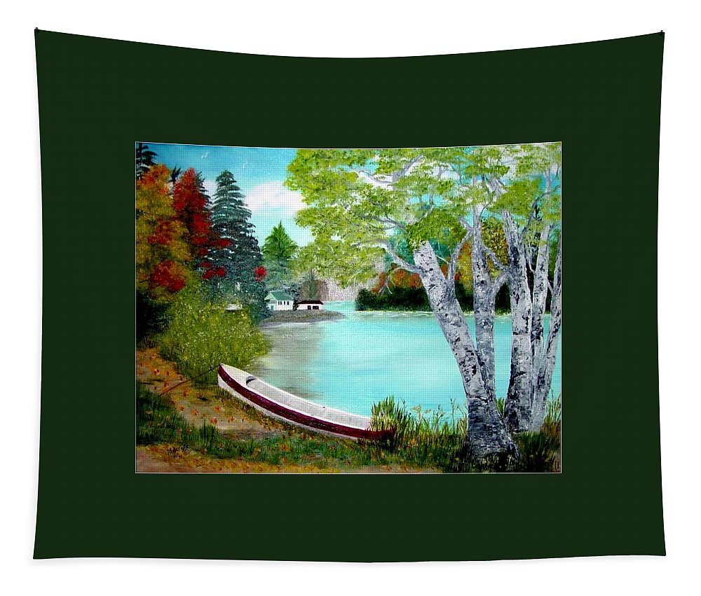 Beautiful Bracebridge Ontario Oil Painting Tapestry featuring the painting Summer In The Muskoka's by Peggy Holcroft