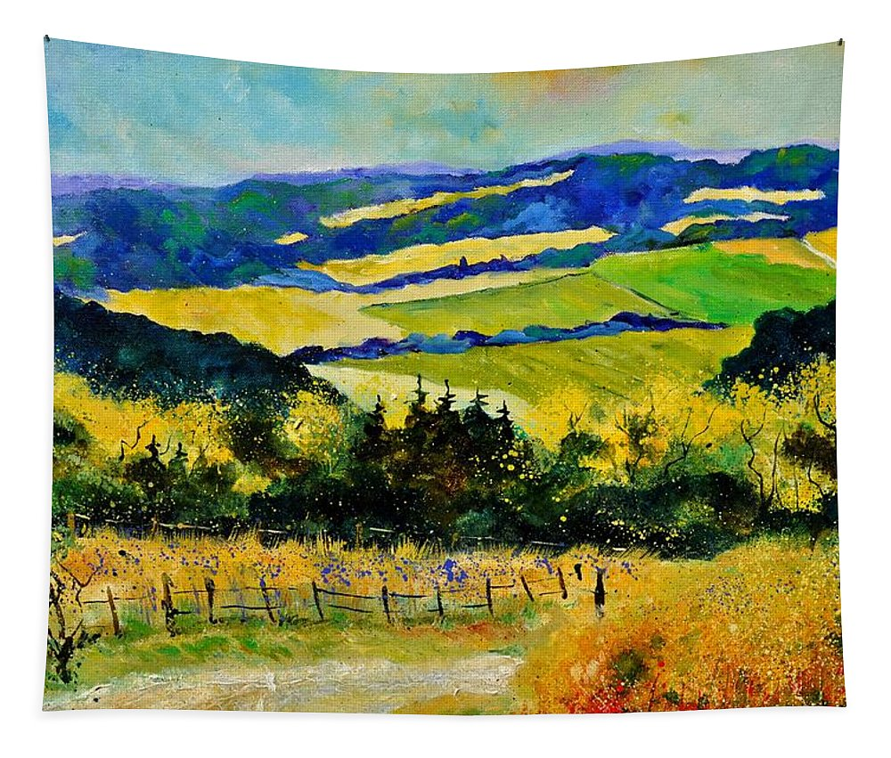 Landscape Tapestry featuring the painting Summer Landscape by Pol Ledent