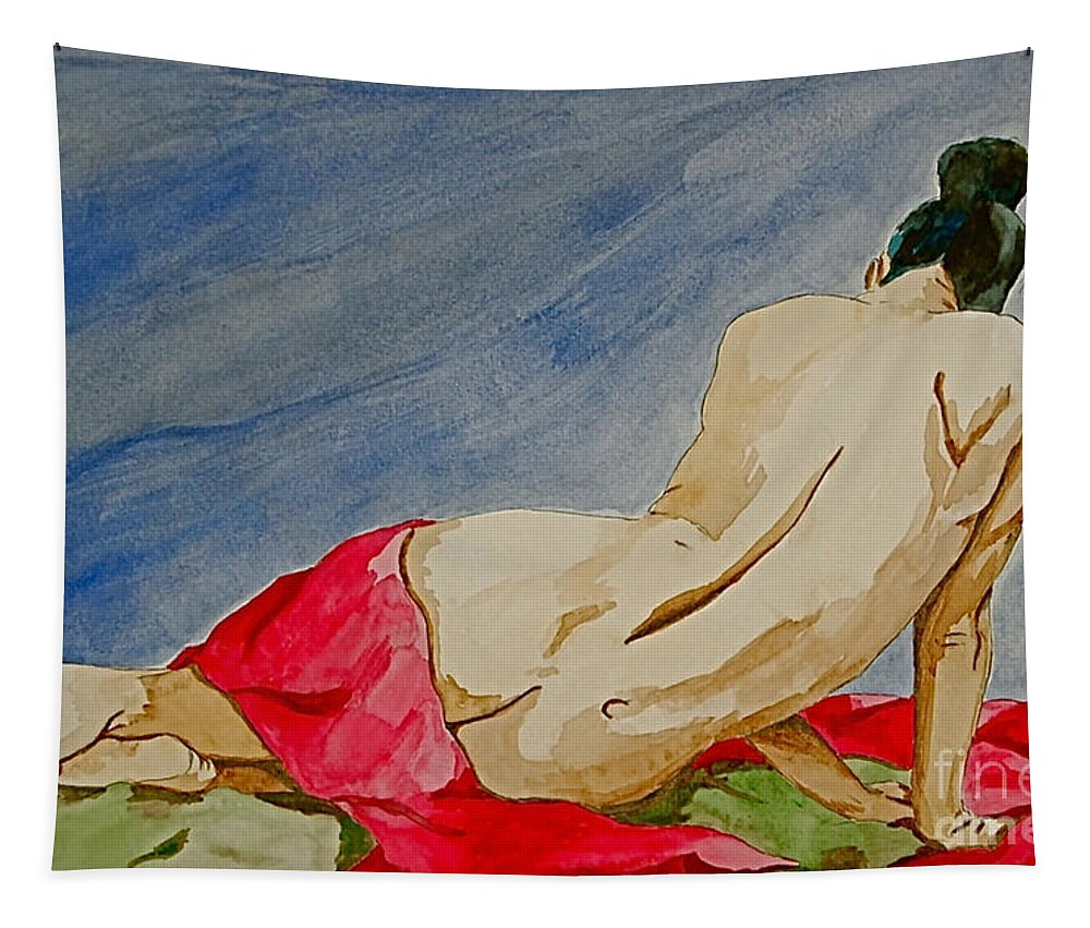 Nudes Red Cloth Tapestry featuring the painting Summer Morning 2 by Herschel Fall
