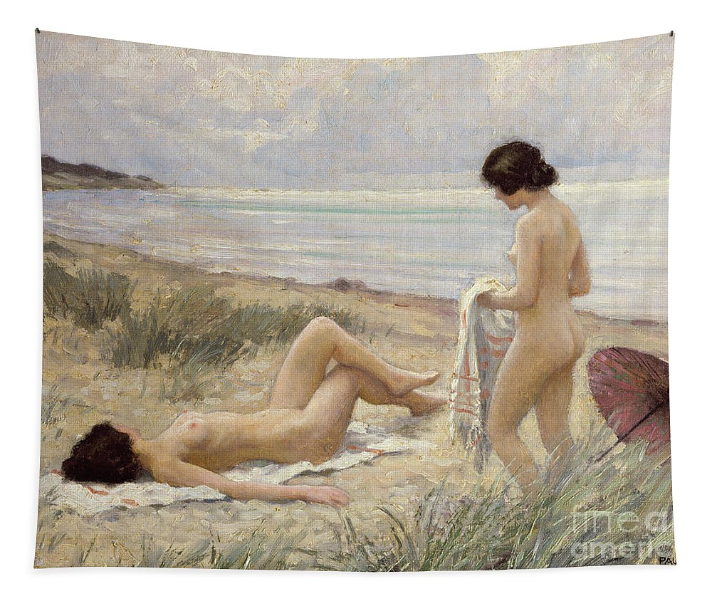 Summer On The Beach (oil On Canvas) By Paul Fischer. Sunbathing; Nude; Naked; Parasol; Beach; Coast; Female; Towel; Lesbian Tapestry featuring the painting Summer On The Beach by Paul Fischer