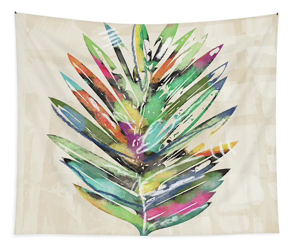 Tropical Tapestry featuring the mixed media Summer Palm Leaf- Art By Linda Woods by Linda Woods