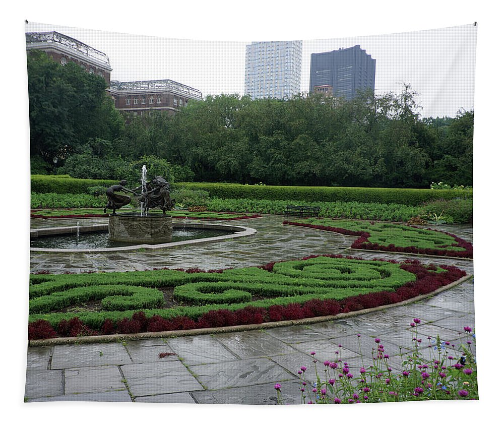 Art Tapestry featuring the photograph Summer Rain In The Conservatory Garden by DM Carpenter