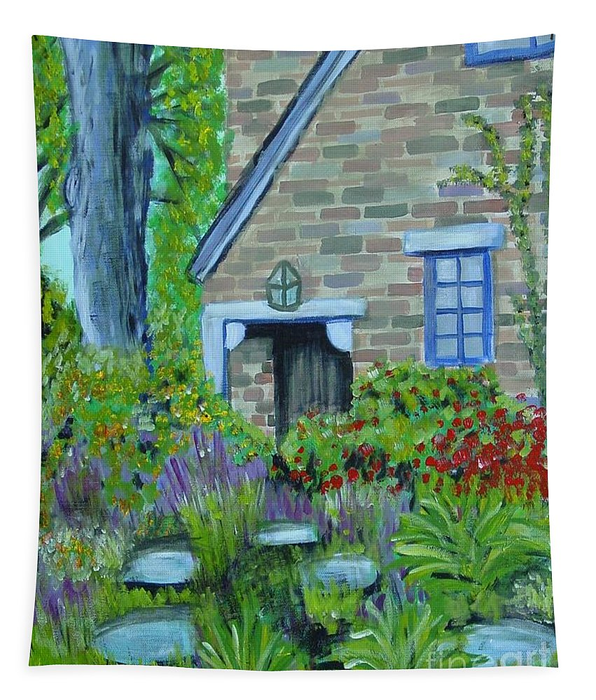 Cottage Tapestry featuring the painting Summer Retreat by Laurie Morgan