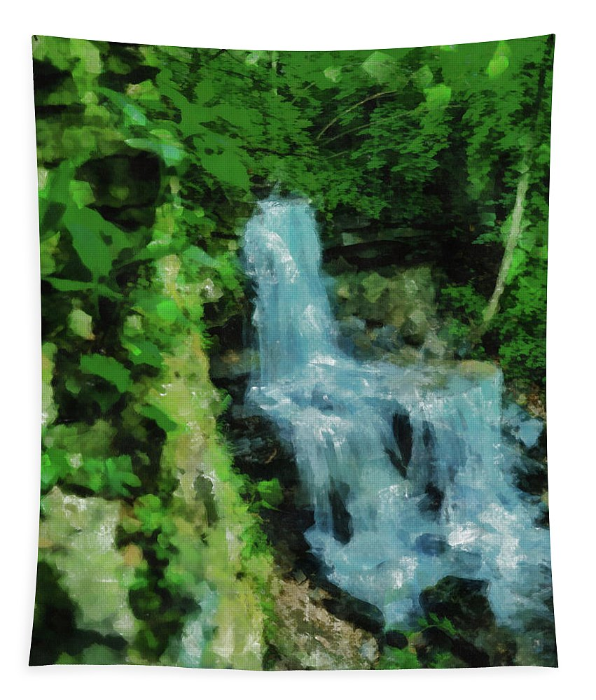 Summer Green At West Milton Falls Tapestry featuring the painting Summer Waterfall In West Milton by Dan Sproul