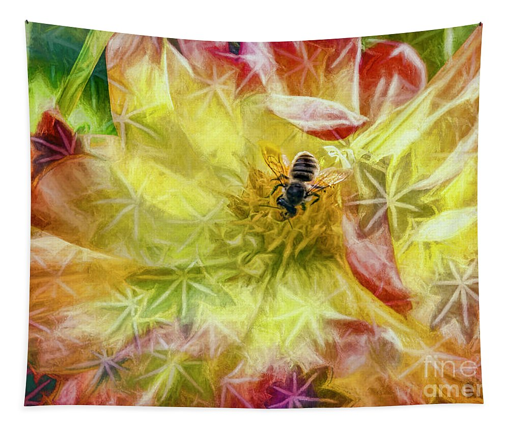 Bee Tapestry featuring the photograph Summer Work by Jean OKeeffe Macro Abundance Art