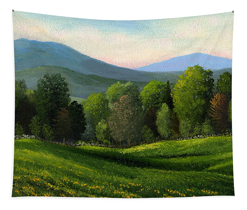 Landscape Tapestry featuring the painting Summers Ending by Frank Wilson