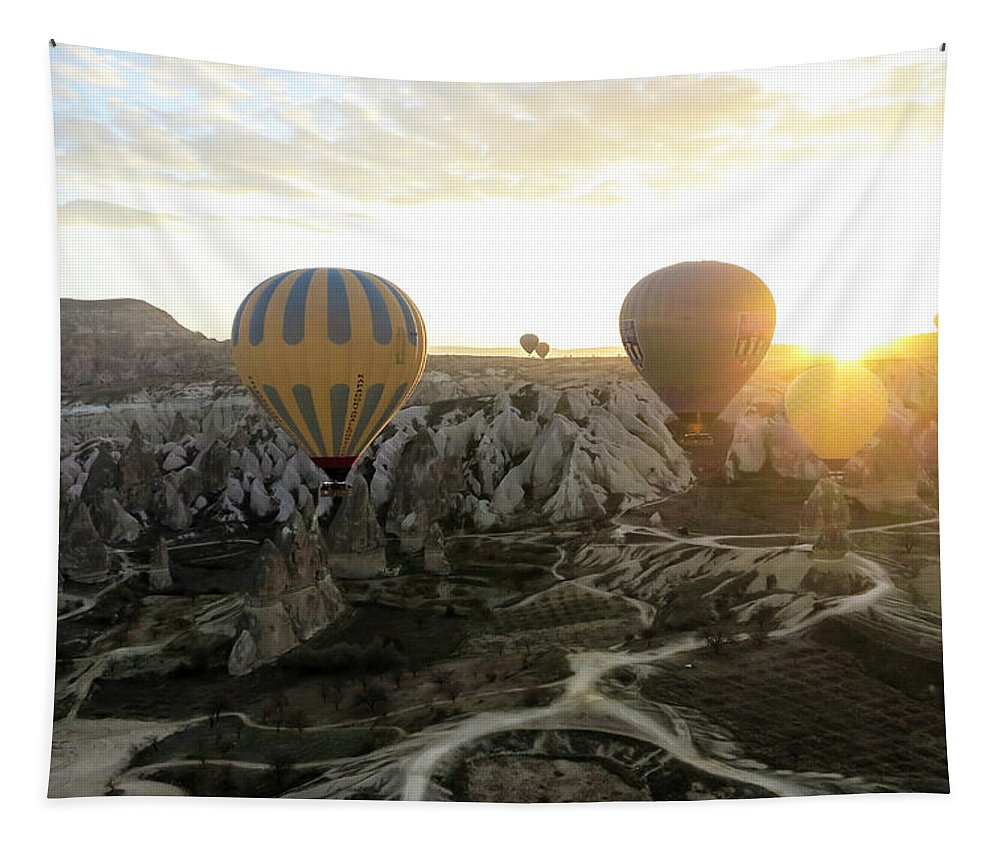 Sun Breaks The Horizon Tapestry featuring the photograph Sun Breaks The Horizon by Phyllis Taylor