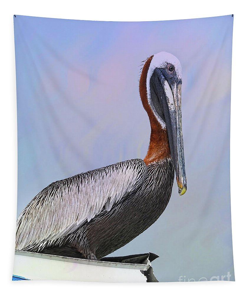 Pelican Tapestry featuring the photograph Sun Glow Pelican by Deborah Benoit