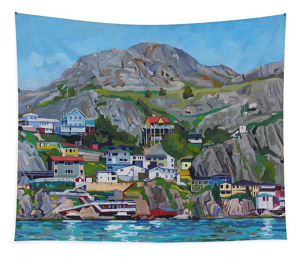 896 Tapestry featuring the painting Sun Of The Battery by Phil Chadwick