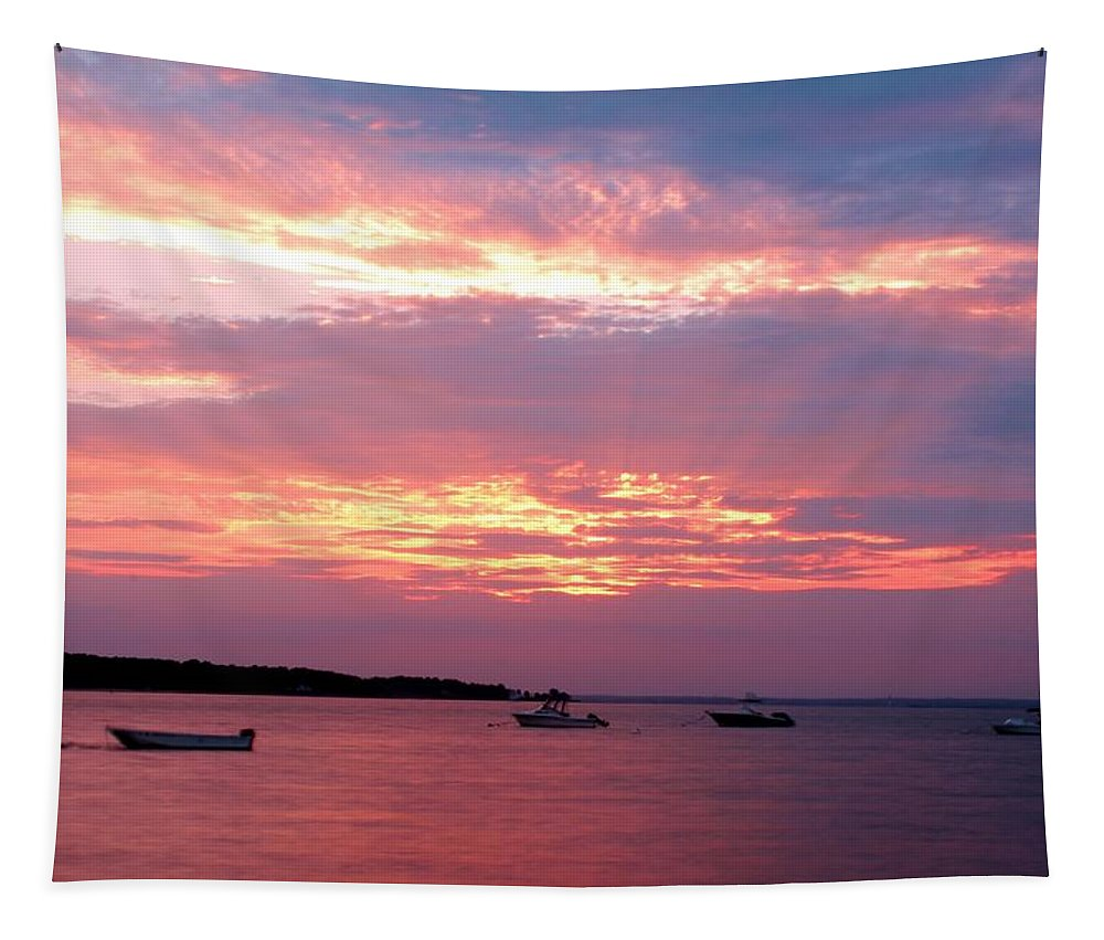 Long Island Sound Tapestry featuring the photograph Sun Rays Through The Clouds by Karen Silvestri