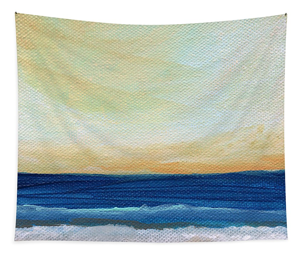 Beach Tapestry featuring the mixed media Sun Swept Coast- Abstract Seascape by Linda Woods