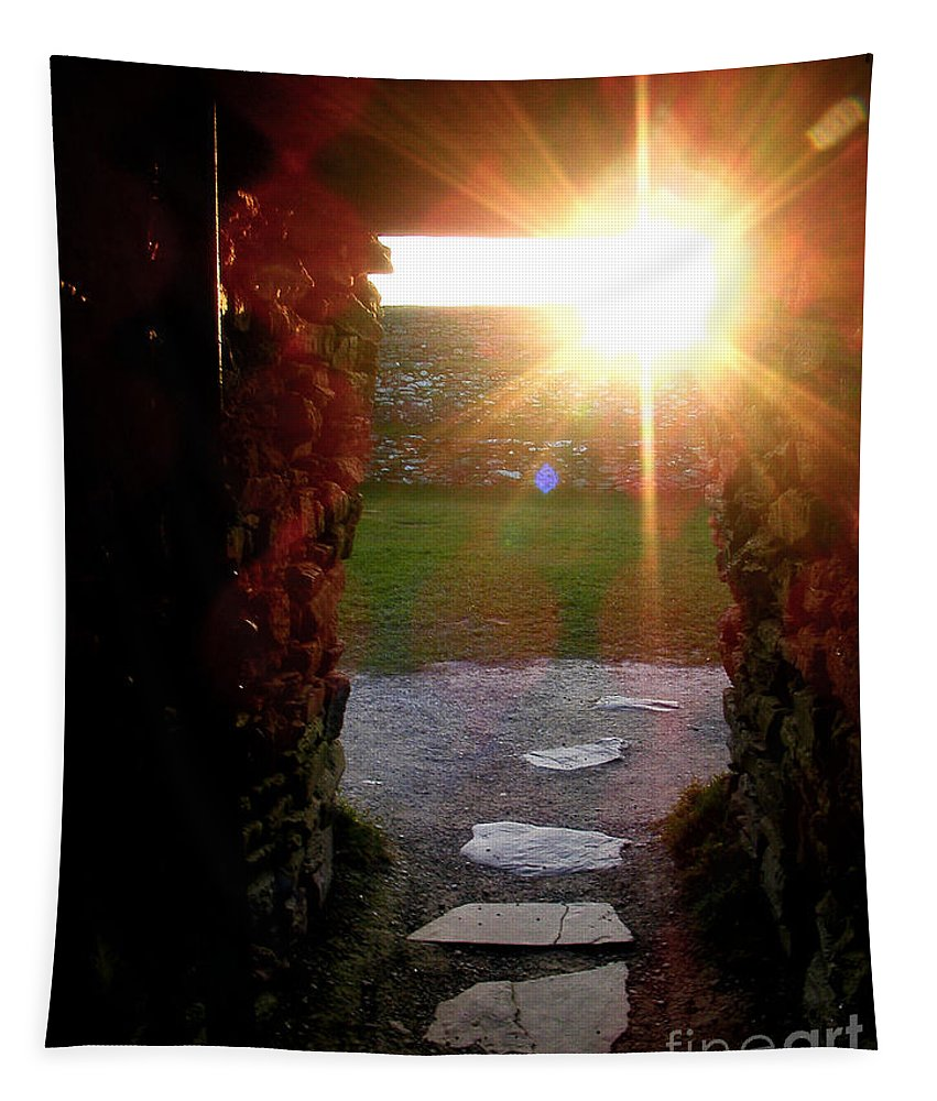 Grianan Of Aileach Tapestry featuring the photograph Sun Temple Entrance by Nina Ficur Feenan