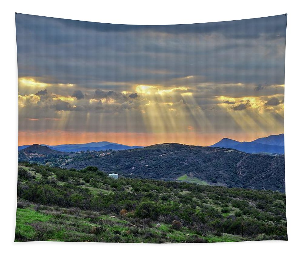Ventura County Tapestry featuring the photograph Sunbeams Over Moorpark Hills by Lynn Bauer