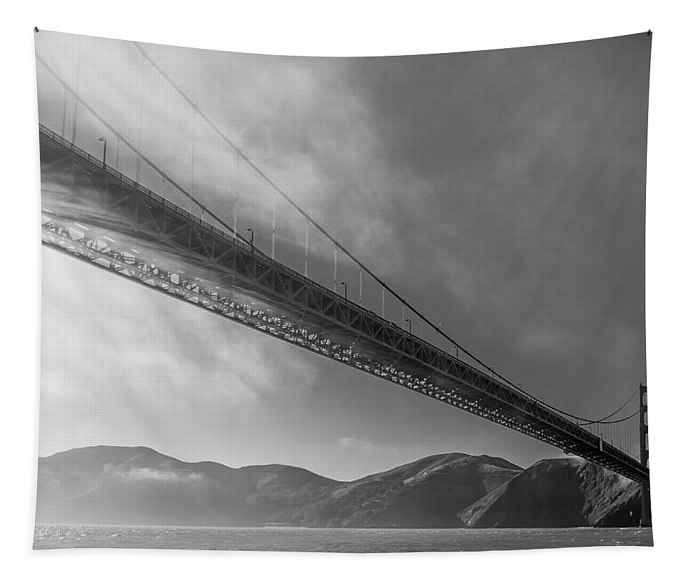 Golden Gate Bridge Tapestry featuring the photograph Sunbeams Through The Golden Gate Black And White by Scott Campbell