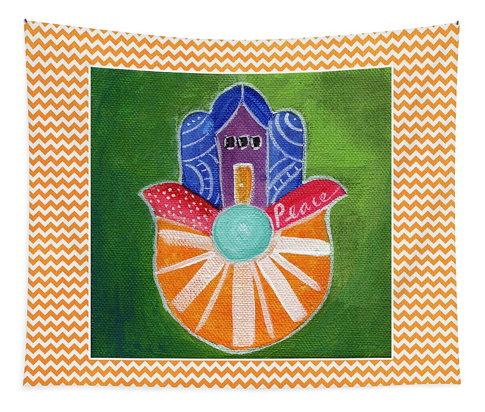 Hamsa Tapestry featuring the painting Sunburst Hamsa With Chevron Border by Linda Woods