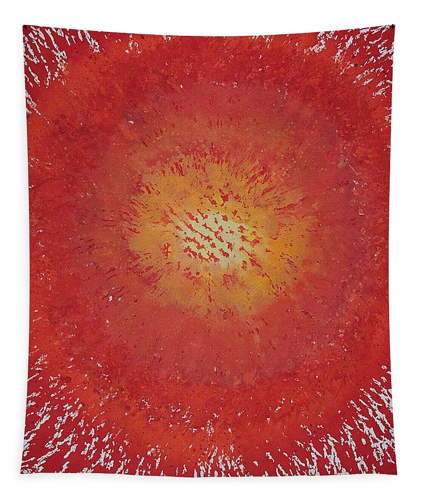 Sun Tapestry featuring the painting Sunburst Original Painting by Sol Luckman
