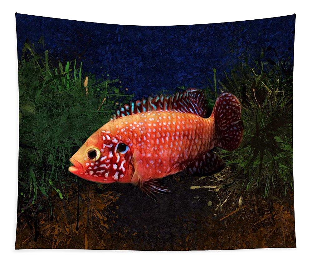 Sunburst Peacock Tapestry featuring the digital art Sunburst Peacock Cichlid by Scott Wallace Digital Designs