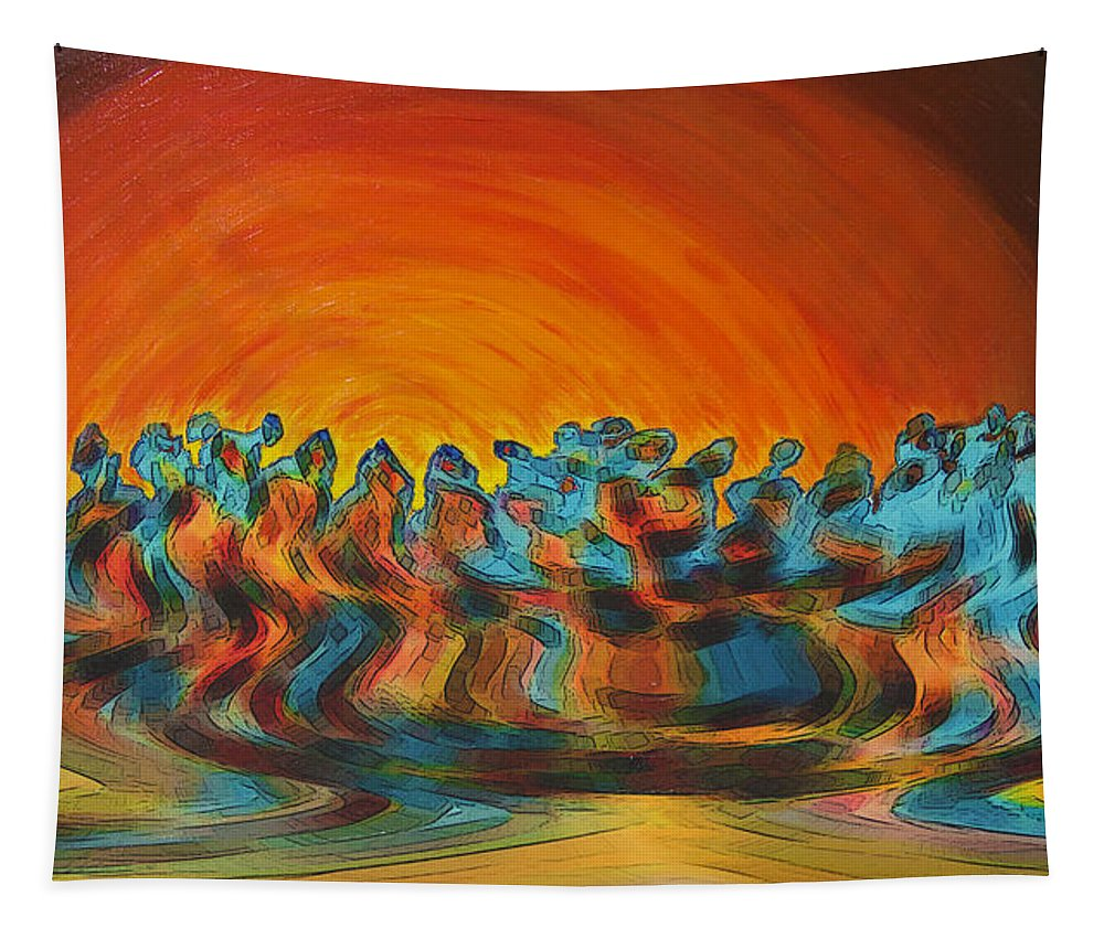 Figurative Abstract Tapestry featuring the digital art Sundance by Ben and Raisa Gertsberg