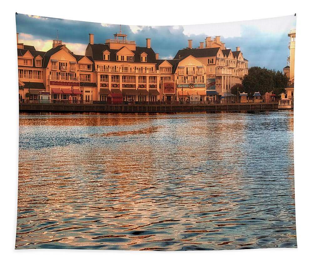 Boardwalk Tapestry featuring the photograph Sundown On The Boardwalk Walt Disney World by Thomas Woolworth