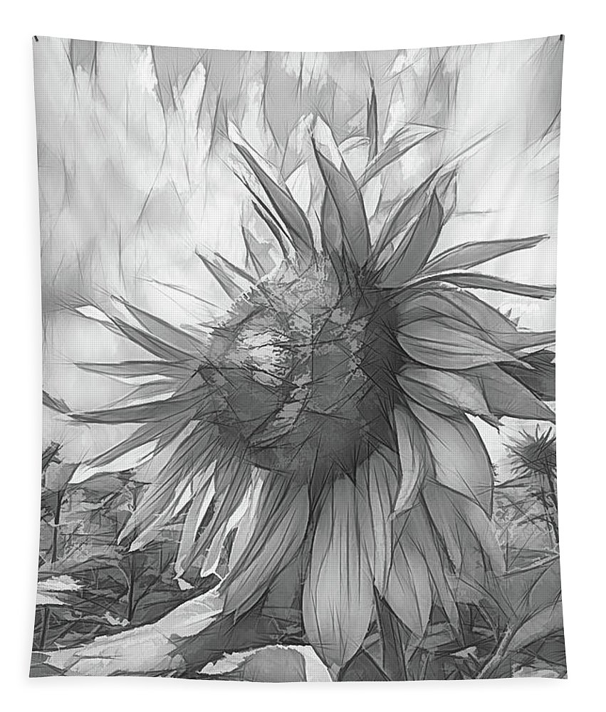 Austria Tapestry featuring the photograph Sunflower Dawn Black And White Drawing by Debra and Dave Vanderlaan