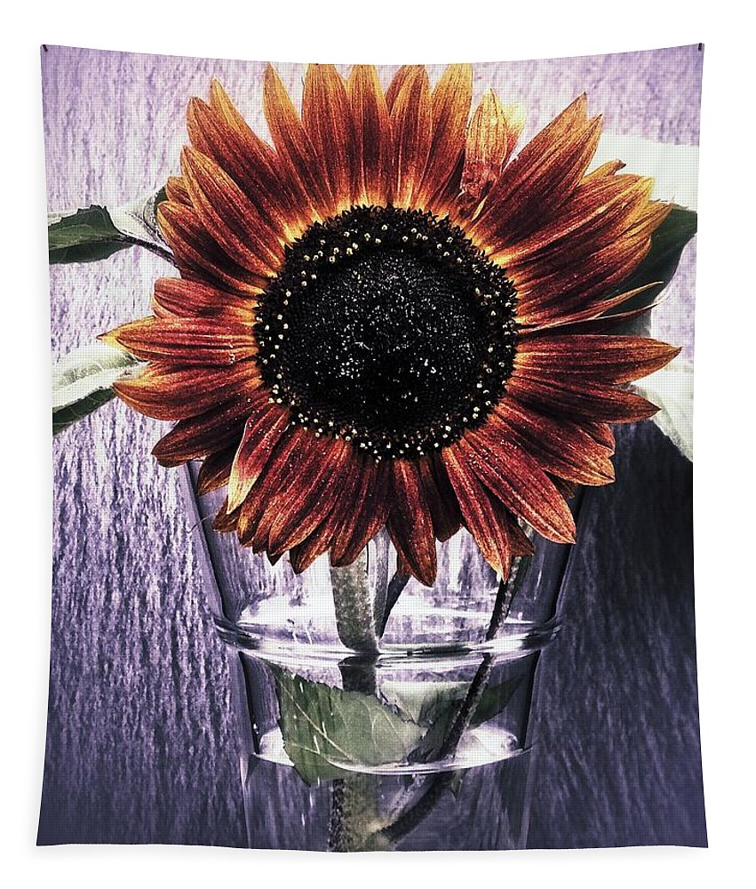 Nature Tapestry featuring the photograph Sunflower In A Cup by Karen Stahlros