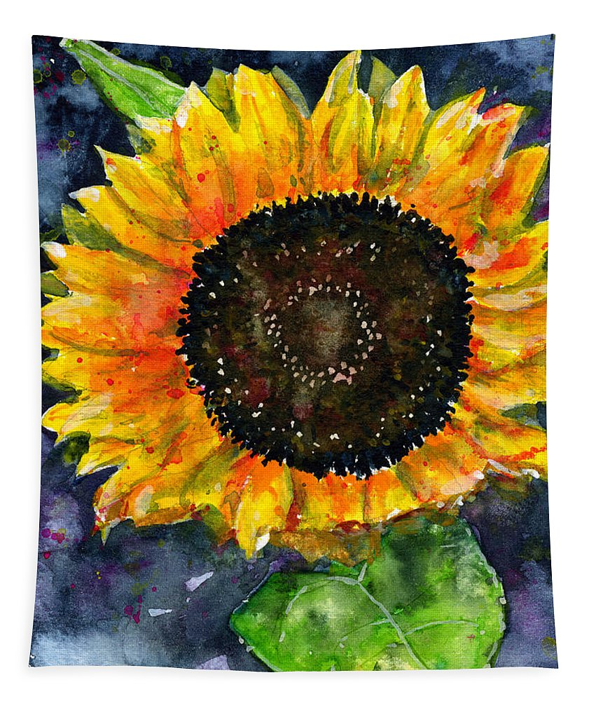 Flower Tapestry featuring the painting Sunflower by John D Benson