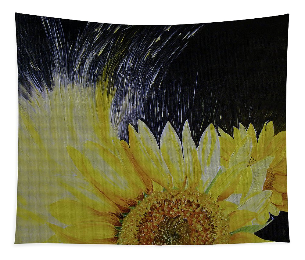 Flower Art. Tapestry featuring the painting Sunflower by Maria Woithofer