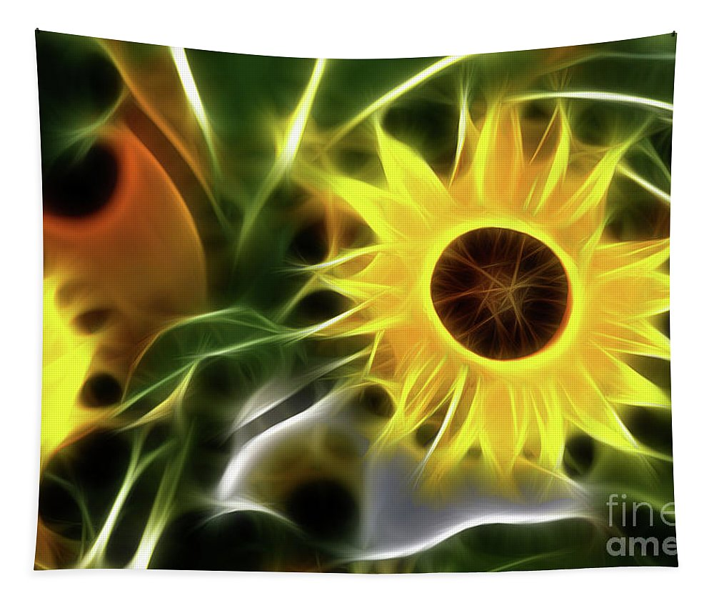 Sunflower Tapestry featuring the photograph Sunflowers-4929-fractal by Gary Gingrich Galleries