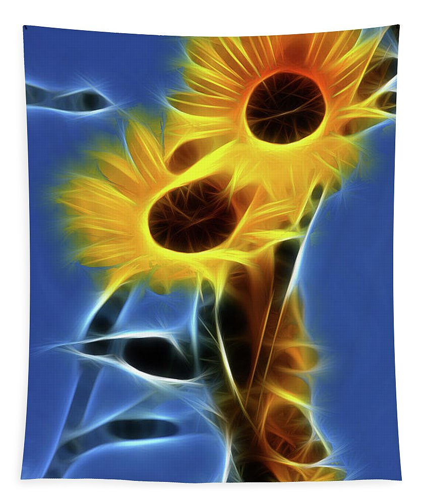 Sunflower Tapestry featuring the photograph Sunflowers-4969-fractal by Gary Gingrich Galleries