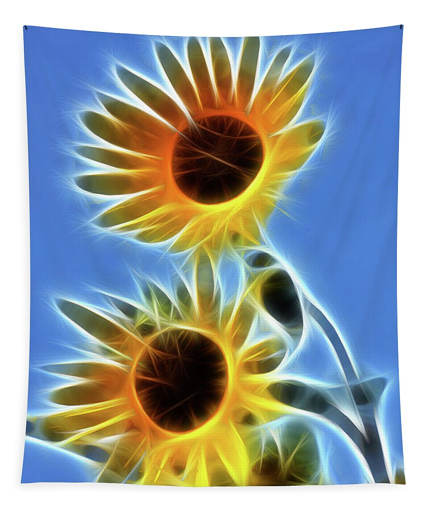 Sunflower Tapestry featuring the photograph Sunflowers-5246-fractal by Gary Gingrich Galleries